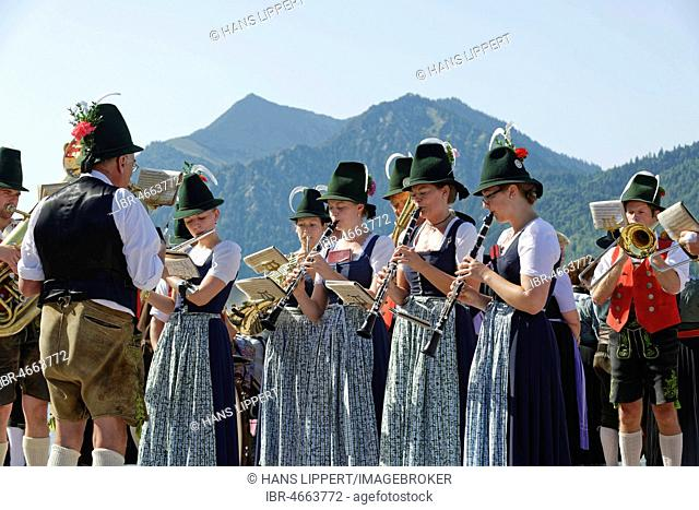 Brass band wearing traditional costumes, Schliersee, Upper Bavaria, Bavaria, Germany
