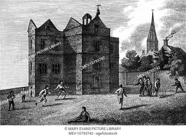 Schoolboys at Harrow School playing a game of cricket