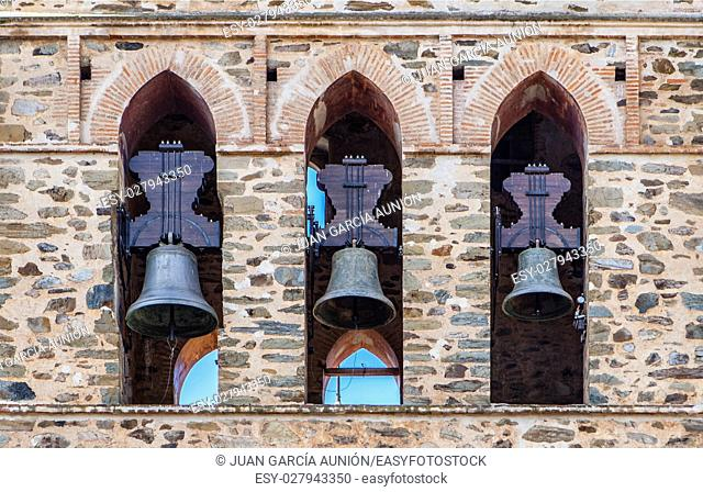 Three Bells in Bell Tower, Guadalupe Belfry, Caceres, Extremadura, Spain