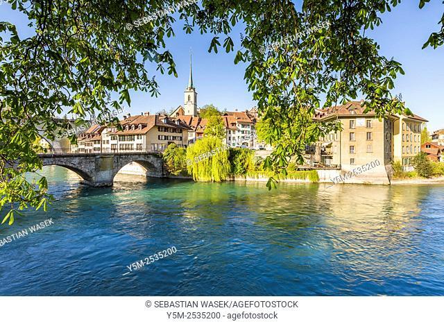 View across River Aare with Untertor Bridge, Bern, Switzerland, Europe