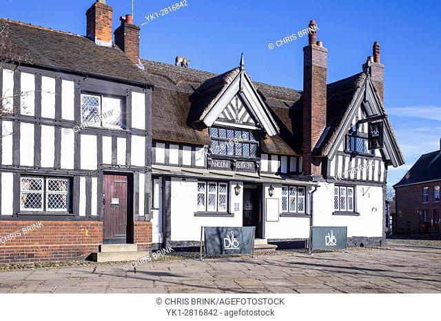 Thatched public house in Sandbach Cheshire UK