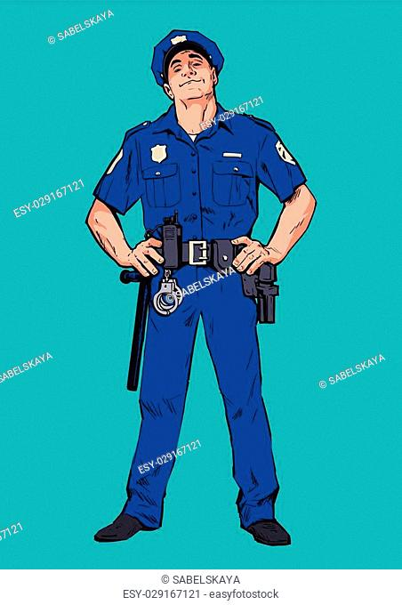 Content policeman in uniform. Blue form. Confident cop. Self-confident man in a blue uniform. The guy in the cap. Happy policeman. Strong character