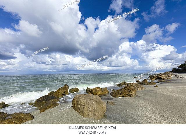 Big white clouds over the Gulf of Mexico at Caspersen Beach in Vencie Florida