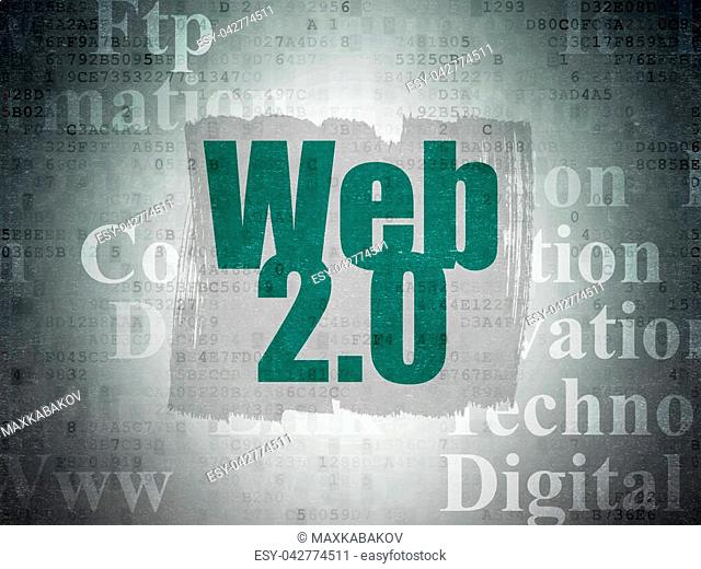 Web development concept: Painted green text Web 2.0 on Digital Data Paper background with Tag Cloud