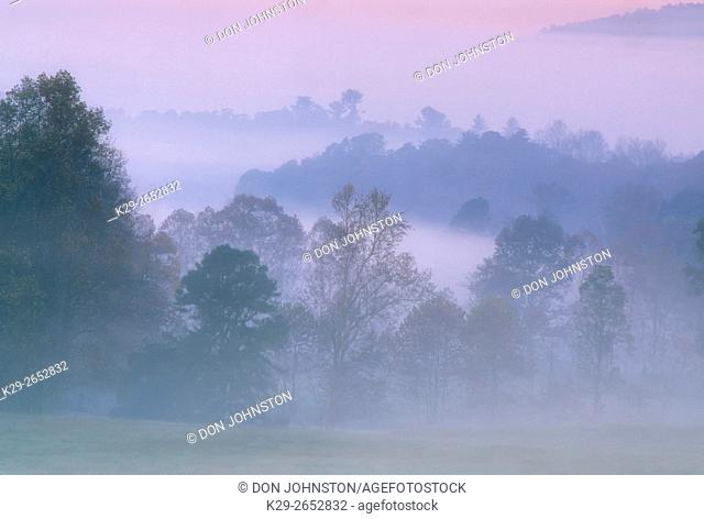 Morning fog in Cades Cove, Great Smoky Mountains National Park, Tennessee, USA