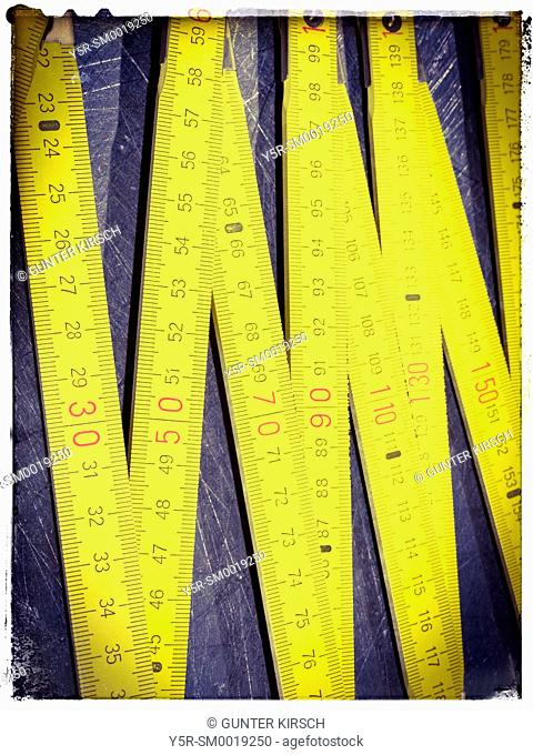 Detail view of a yellow ruler