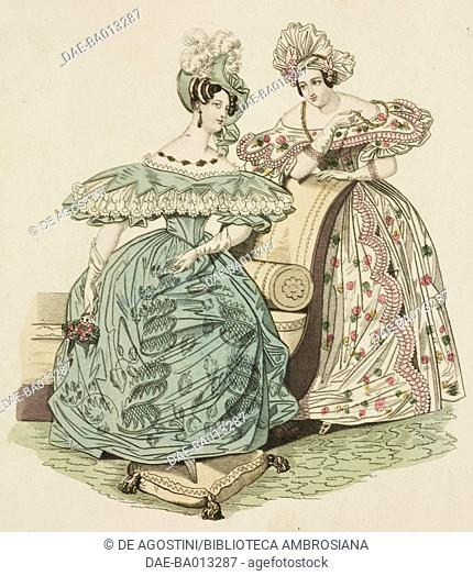 Female sketches with pou de soie dress and camargo hat and dress made of foulard, cloak (o polonaise) made of embroidered satin