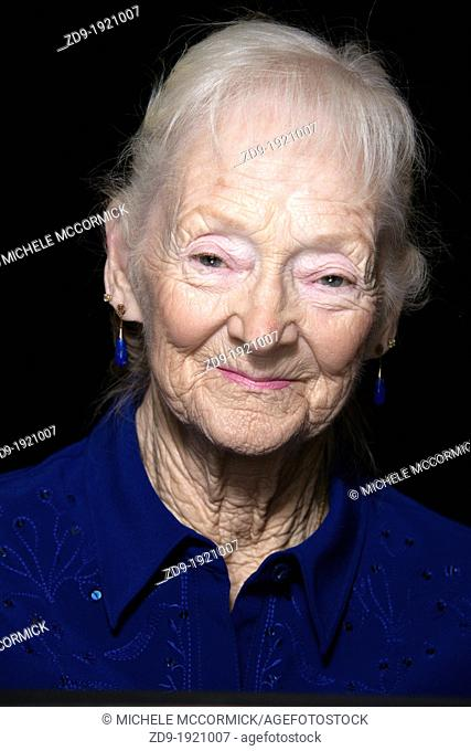 Portrait of an expressive, wrinkled older woman