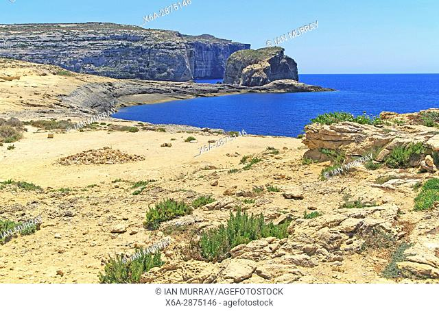 Coastal scenery cliffs view to Fungus Rock, Dwerja Bay, island of Gozo, Malta