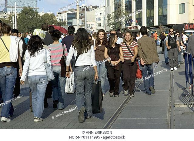 Istiklal Caddesi shopping street in Istanbul, Turkey 2006