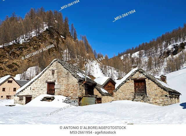 Early spring view of the mountain village of Crampiolo. Baceno Municipality. Province of Verbano-Cusio-Ossola. Piemonte. Italy