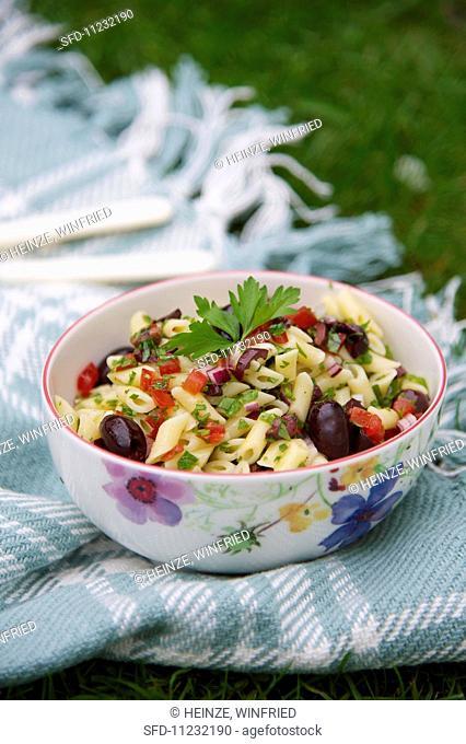 Mediterranean pasta salad with black olives