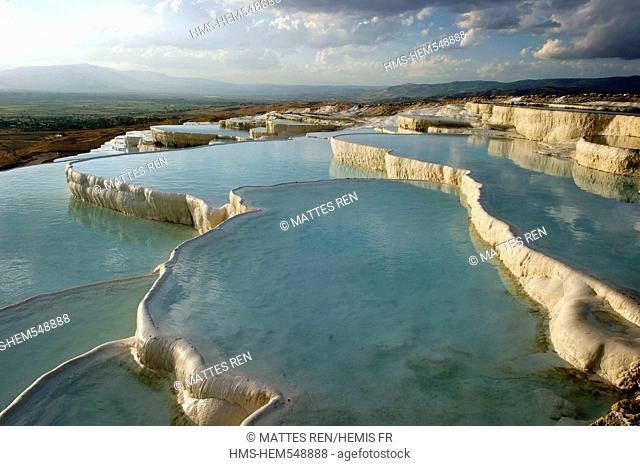 Turkey, Aegean Region, Pamukkale, listed as World Heritage by UNESCO, the Cotton Castle, white travertine basins