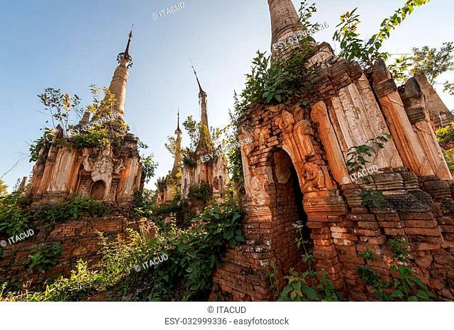 Detail of a pagoda in Shwe Indein near the Inle lake in Myanmar