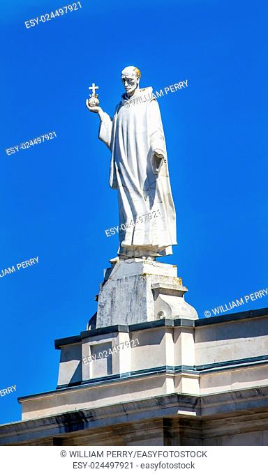 Statue Saint John Eudes, French Priest, Founder Office Sacred Hearts of Jesus and Mary, Basilica of Lady of Rosary Bell Tower Fatima Portugal