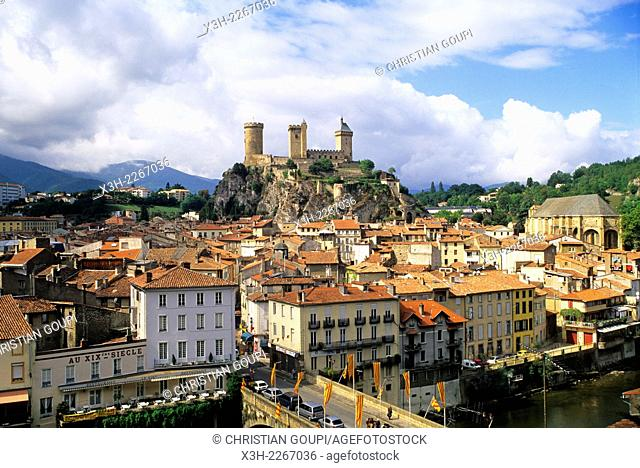 city and castle of Foix, Ariege department, Midi-Pyrenees region, France, Europe
