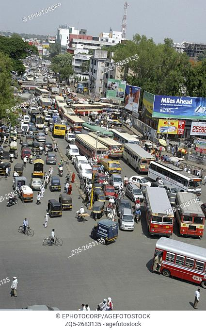 Vertical shot of front view of a traffic scene in India
