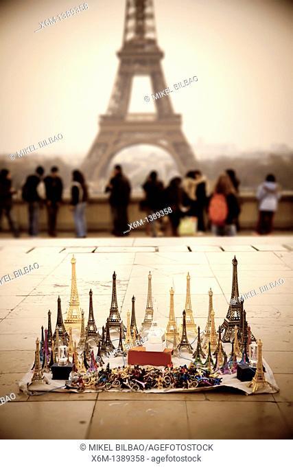 Eiffel Tower and souvenirs  Paris, France, Europe