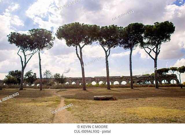 View of ancient aqueduct, Parco degli Acquedotti, Rome, Italy