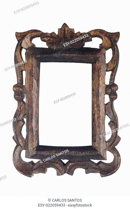 Old dark wooden picture frame