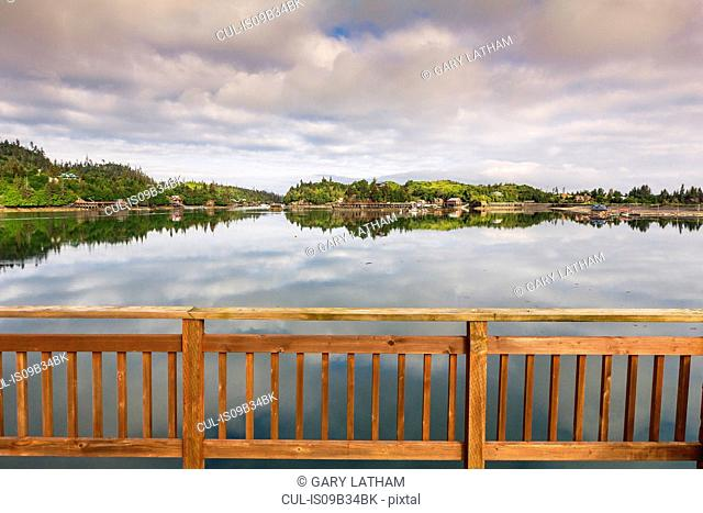 View of water from balcony, Stillpoint Lodge, Halibut Cove, Kachemak Bay, Alaska, USA