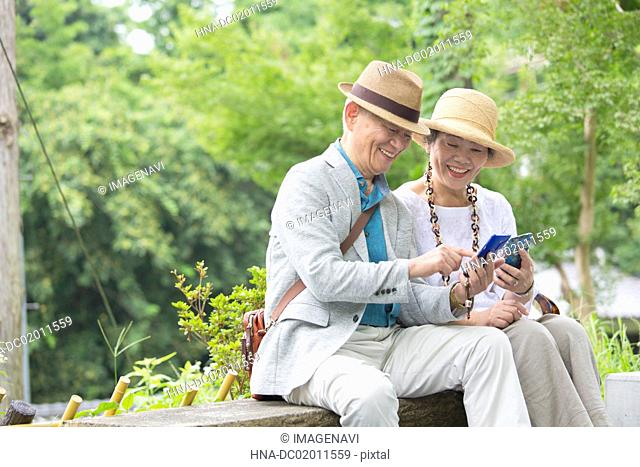 Senior couple looking at smart phone