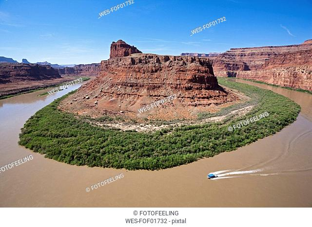 USA, Utah, Rock formation and Colorado River, elevated view