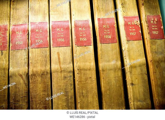 Old file records in archive, close up
