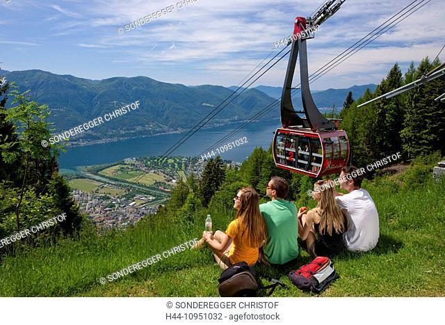 Switzerland, Europe, lake, canton, TI, Ticino, Southern Switzerland, mountain railway, Lago Maggiore, Cardada, aerial express road, Locarno, Ascona
