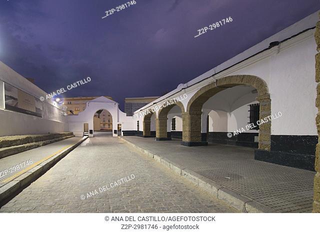 Twilight in Cadiz city , Andalusia, Spain Caleta beach and San Sebastian castle