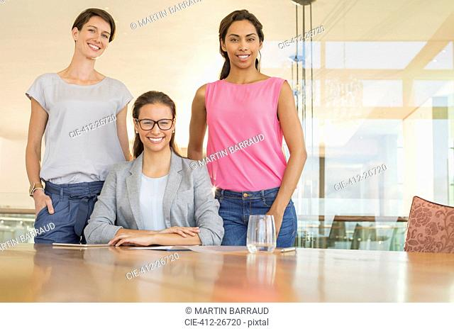 Portrait confident businesswomen in conference room