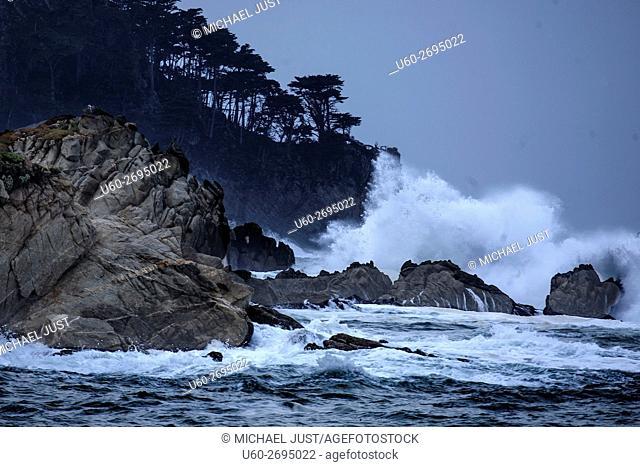 A passing storm produces high surf along California's Pacific Ocean Coastline near Carmel at Point Loma
