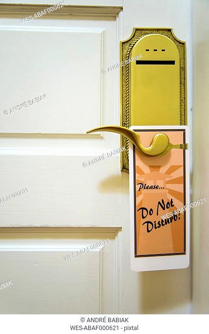USA, Texas, Do not disturb sign on hotel door