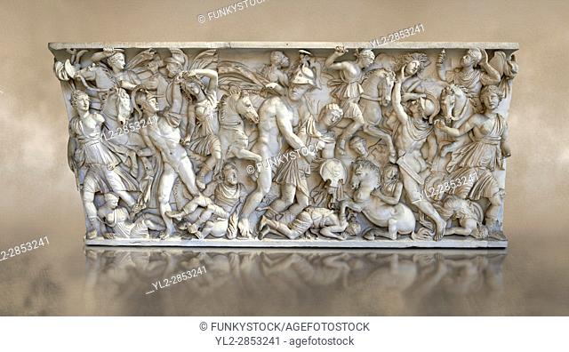 Roman sarcophagus depicting a battle between Achilles and Pentesilea and Amazons, the faces of the deceased have been sculpted over the Greek heroes