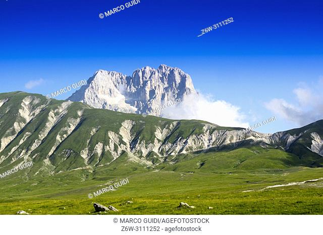 View of the highest mountain in the Apennines, the Gran Sasso d'Italia Europa