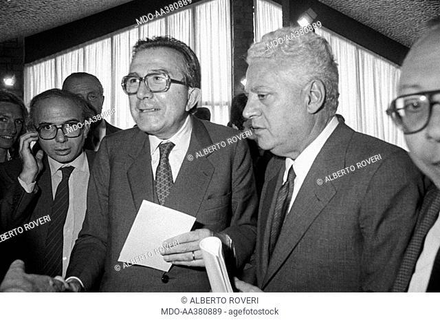 Giulio Andreotti with Salvo Lima and Paolo Cirino Pomicino. Minister of Foreign Affairs of the Italian Republic Giulio Andreotti