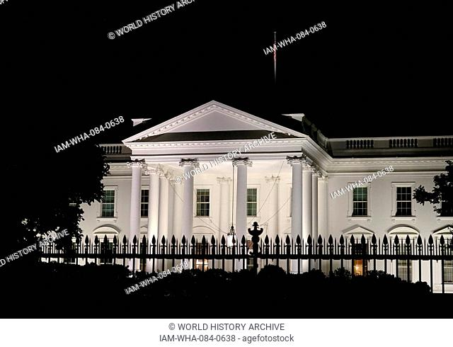 North facing exterior of The White House at night. The White House is the official residence and principle workplace of the President of the United States