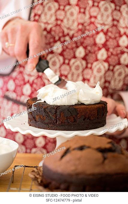 Decorating and finishing Devils Food Cake