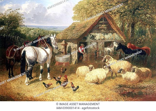 Farmyard scene showing stable by an oak wood , horses, horned sheep by a pond and chickens  Animals are waiting to be given feed by farm worker  Outside...