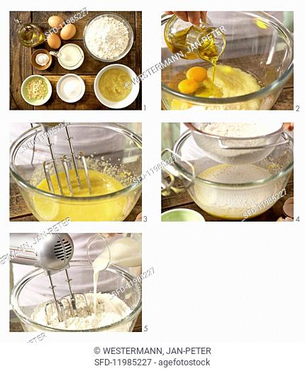 How to prepare batter with oil and apple purée