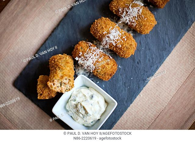 salmon croquettes and tarter sauce