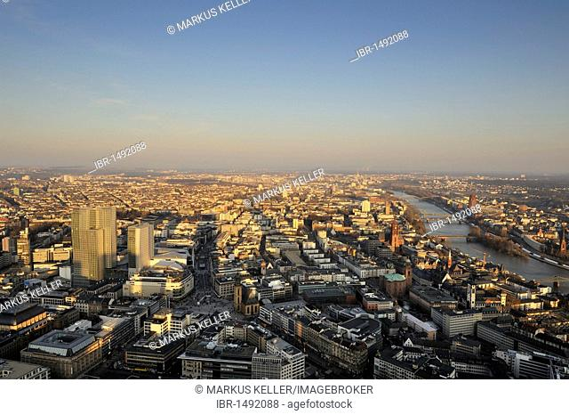 View towards the east of the city at dusk, Frankfurt am Main, Hesse, Germany, Europe