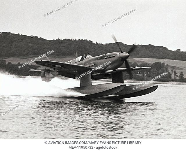 Prototype of Royal Air Force RAF Supermarine Spitfire 9 Floatplane Taking-Off from Water