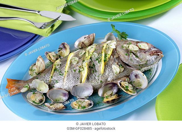 Baked sea bream with clams