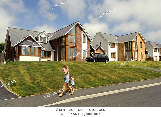Detached executive homes on a private housing estate, Aberystwyth Wales UK