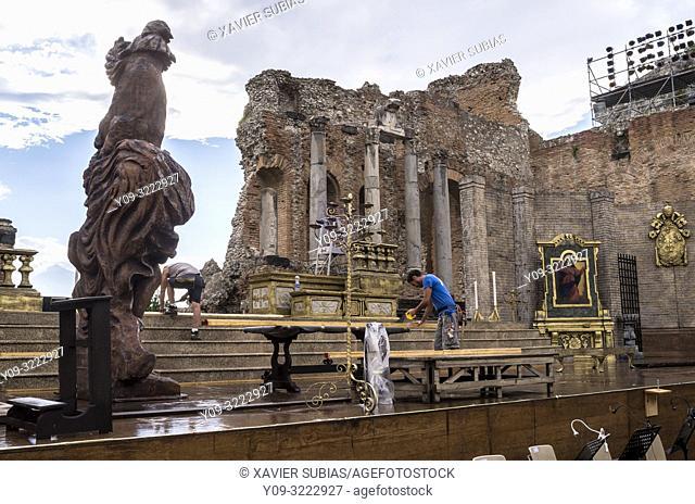 Ancient theatre, Taormina, Sicily, Italy