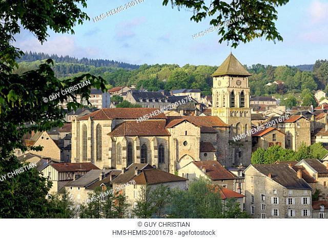 France, Haute Vienne, Eymoutiers, church of Saint Etienne, parc naturel regional de Millevaches en Limousin, Vienne valley