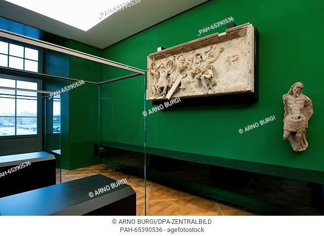 A relief from the palace chapel in Dresden is on display in the rooms of the armoury of Dresden Palace in Dresden, Germany, 27 January 2016