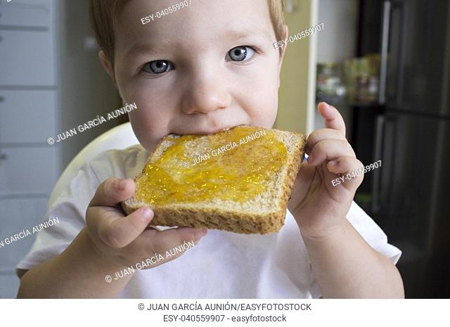 Little baby boy eating peach jam toast. Closeup