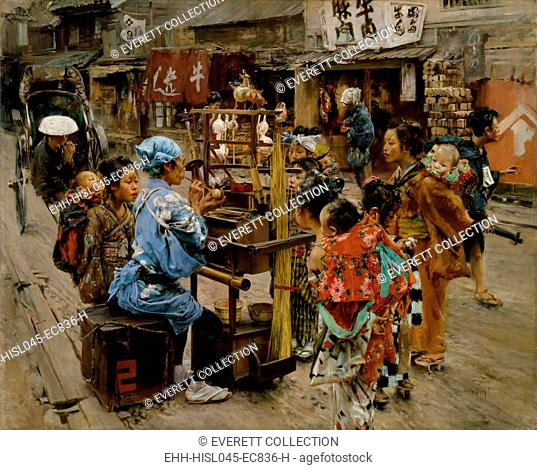 THE AMEYA, by Robert Frederick Blum, 1890-92, American painting, oil on canvas. Ameya is a Japanese candy-seller. This colorful work resulted from a eighteen...
